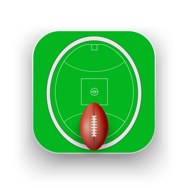 Square icon of Australian rules football sport vector art illustration