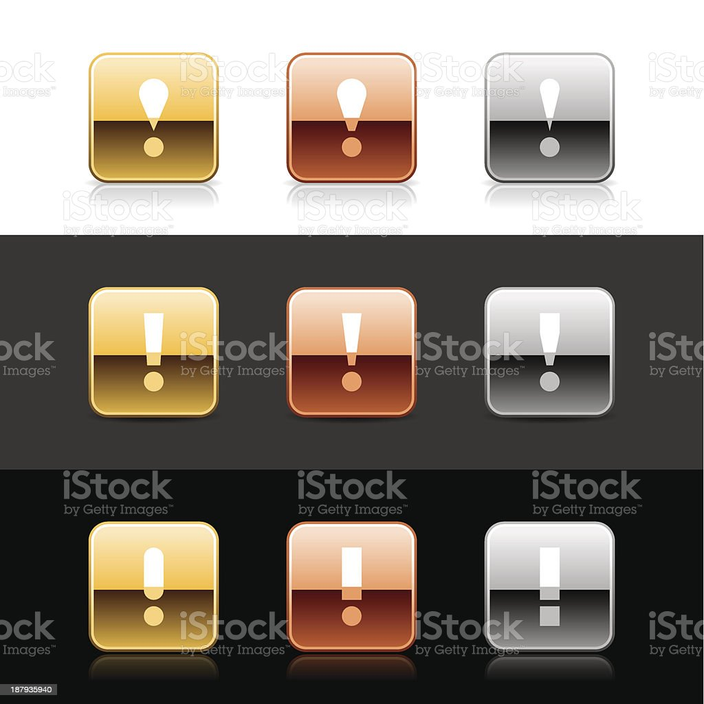 Square icon white exclamation mark sign gold bronze silver button royalty-free stock vector art