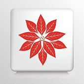 Square Icon With a Big Red and White Poinsetta Silhouette