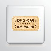 Square Icon With a Cinema Admit One Ticket