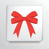 Square Icon With Big Double Looped Red Tied Bow