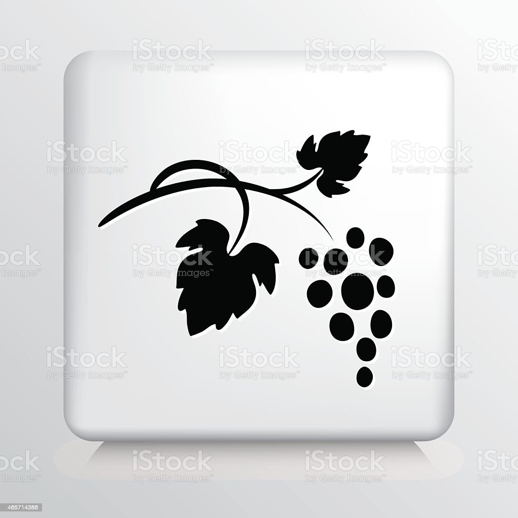Square Icon with Black Grape Bunch and Leaves Silhouette vector art illustration