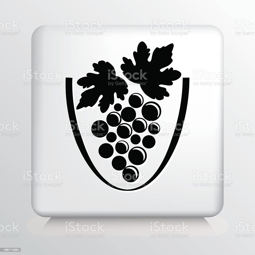 Square Icon with Black Loose Grapes and Leaf Silhouette vector art illustration