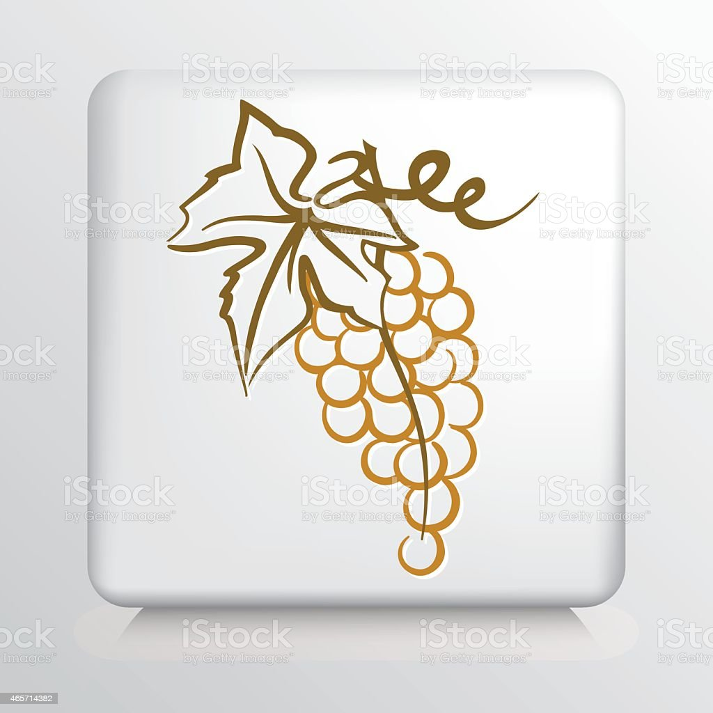 Square Icon with Golden Grape Bunch and Leaf vector art illustration