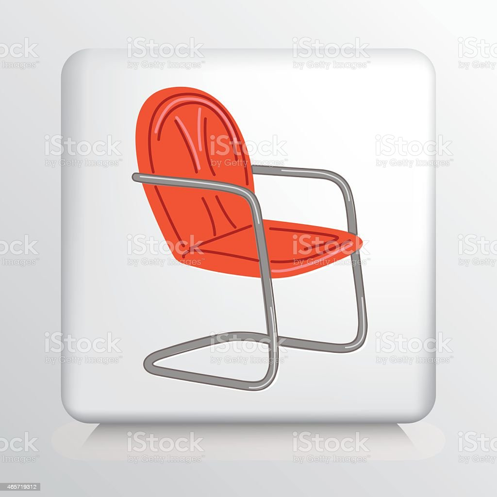 Square Icon With Old Style Orange Lawn Chair Royalty Free Square Icon With  Old Style