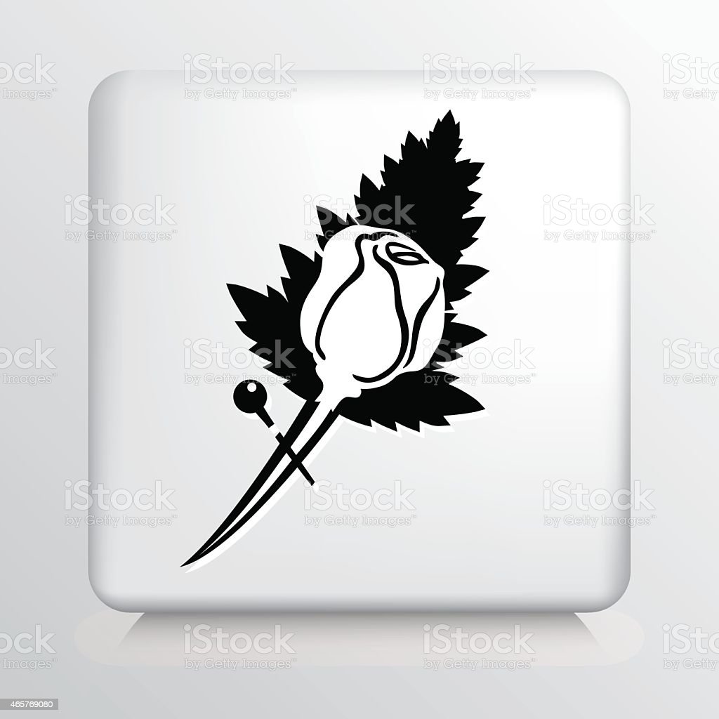Square Icon With Rose Boutonniere Florist Symbol vector art illustration
