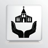 Square Icon With Two Hands Cupping a Architectural Church Building