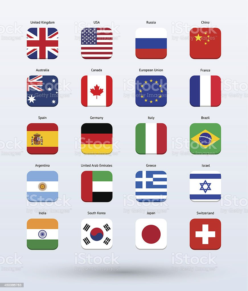 正方形のアイコンコレクション人気の旗 ベクターアートイラスト