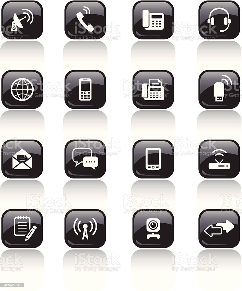 Square Icons Set | Communication royalty-free stock vector art