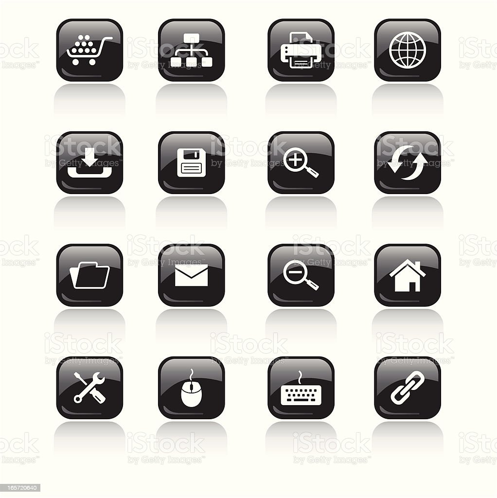 Square Icons Set   Web & Internet royalty-free stock vector art