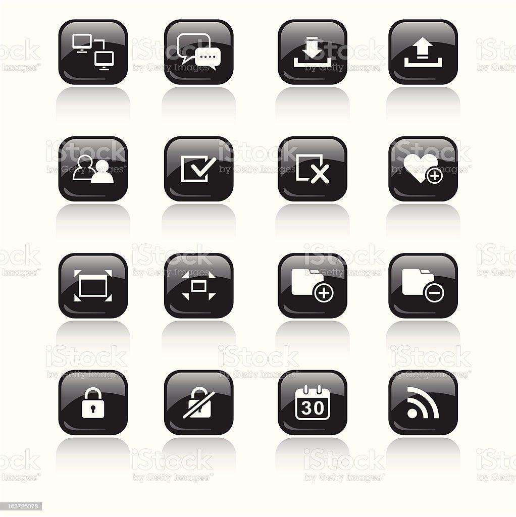 Square Icons Set | Web & Internet royalty-free stock vector art
