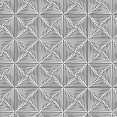Square Illusion Black And White Graphic Pattern Vector Illustration