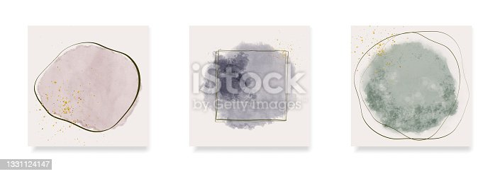 istock square invitation card templates with abstract watercolor shapes 1331124147