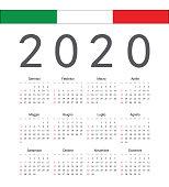 Square Italian 2020 year vector calendar.