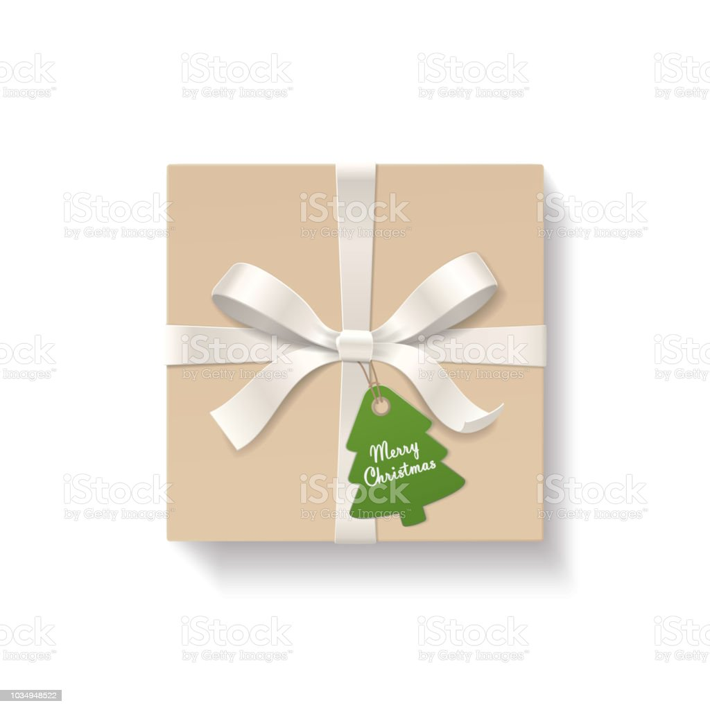 Quadratische Kraftgeschenkbox Farbe Silber Bogen Knoten Und Band Mit ...