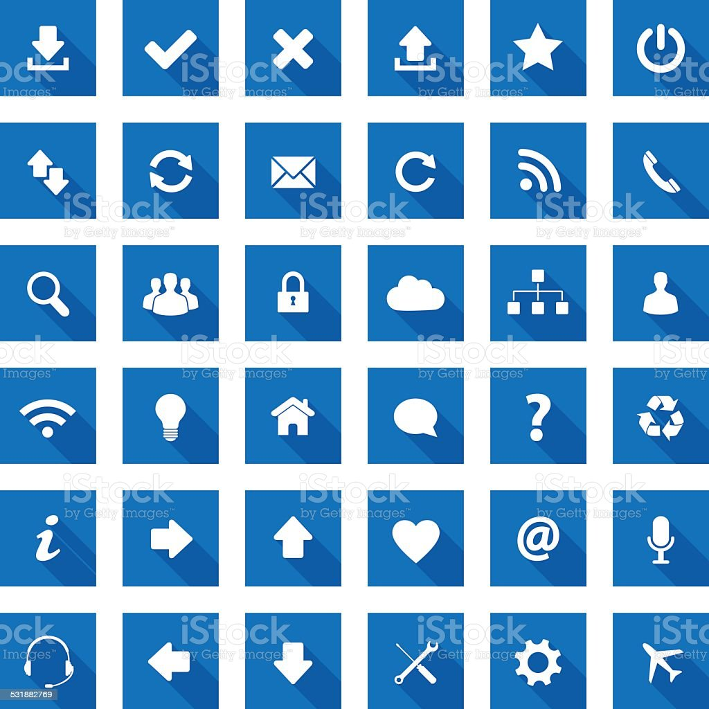 Square long shadow style icons vector art illustration