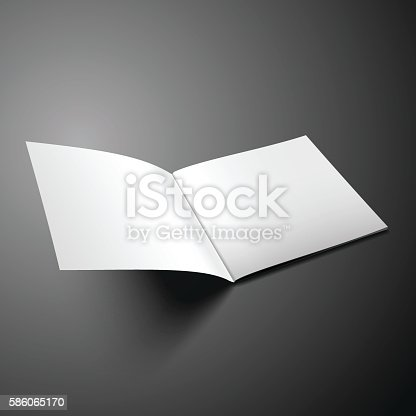 Mockup Square Magazine with soft shadows isolated on dark. Template of Brochure, Booklet, Catalogue for presnentation. Vector EPS10.