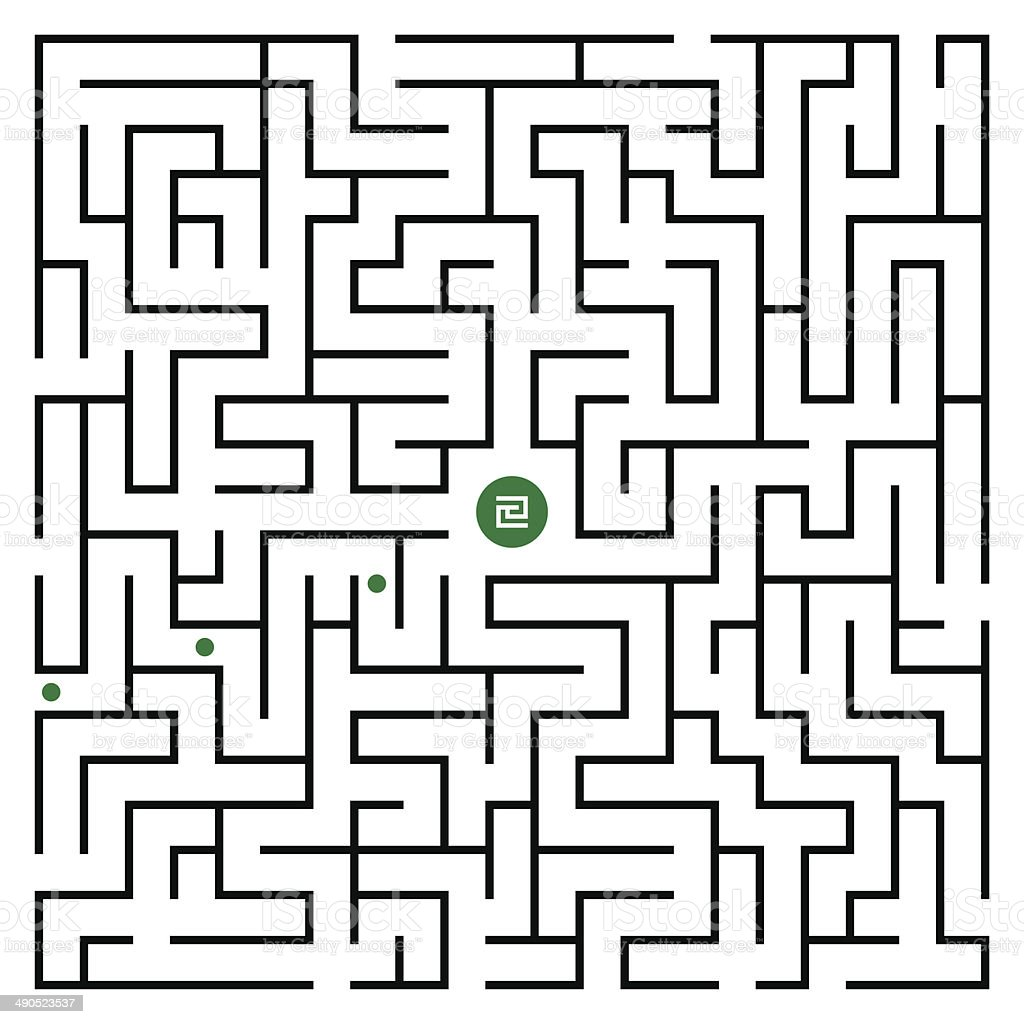 Square maze 21x21 (Black) vector art illustration