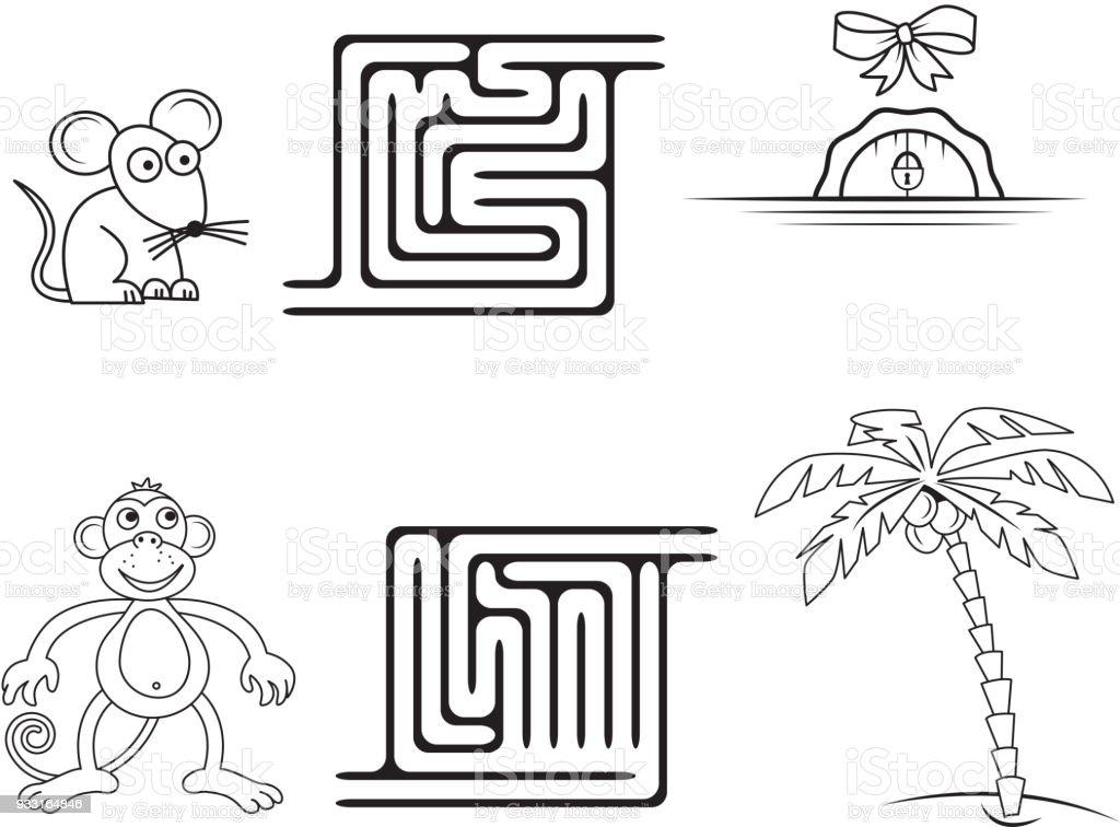Quadratische Labyrinth Spiel Für Kinder Malvorlagen Stock Vektor Art ...