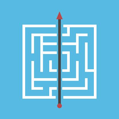 Square maze, shortcut through