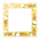 Square meander frame, seamless goldenb pattern. Meandros, a decorative border, constructed from continuous lines, shaped into a repeated motif. Greek fret or Greek key. Illustration over white. Vector.