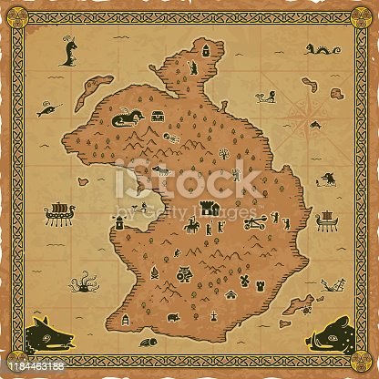 istock Square Medieval Fantasy Map 1184463188