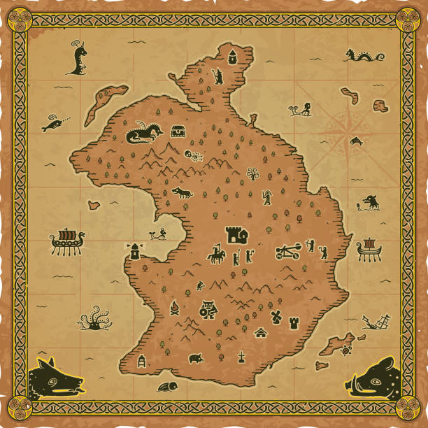 Square Medieval Fantasy Map Includes a Celtic frame and various icons: wolf, boar, knight, paladin, sea monsters, mermaid, viking ships, Excalibur, ogre, skeleton, goblin, magician, castle, tower, dungeon, lighthouse, campfire, sea snake, catapult, turtle, and more. Easy editable. adventure borders stock illustrations