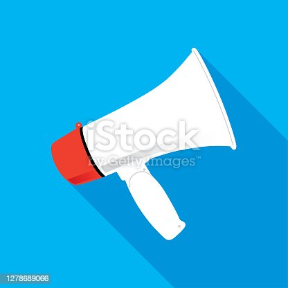 Vector illustration of a megaphone with shadow on a blue background.