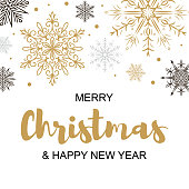 Square Merry Christmas and Happy New Year greeting card with beautiful golden and black snowflakes. Christmas design for banners, posters, massages, announcements. Space for text
