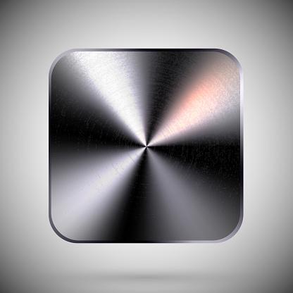 Square Metallic Button Template Reflective Steel