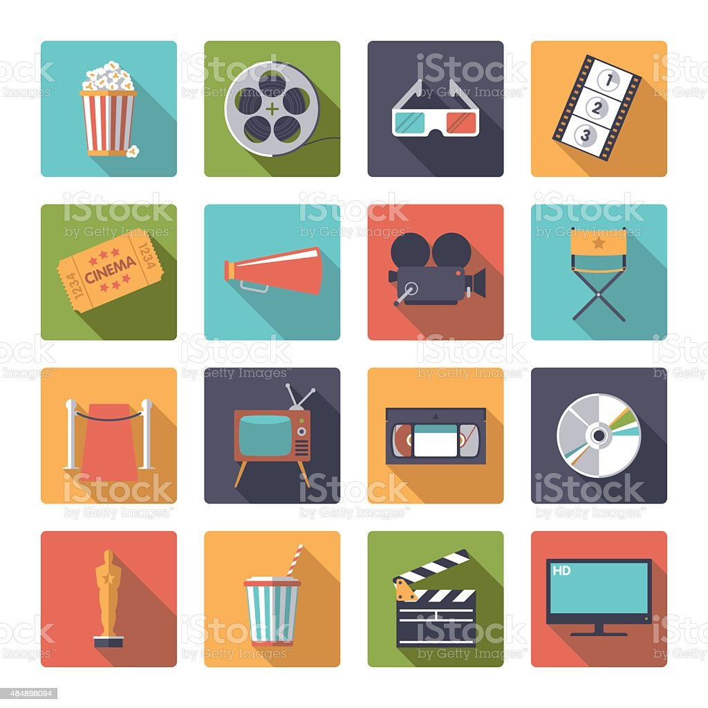 Square movie and cinema icons vector set. vector art illustration