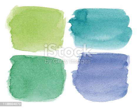Set of green, blue, turquoise vectorized rectangular watercolor splashes.