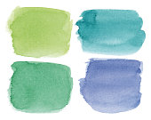 Set of green, blue, turquoise vectorized rectangular watercolor splashes.