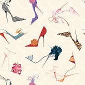 Square of a seamless pattern of drawn, vibrant high heels