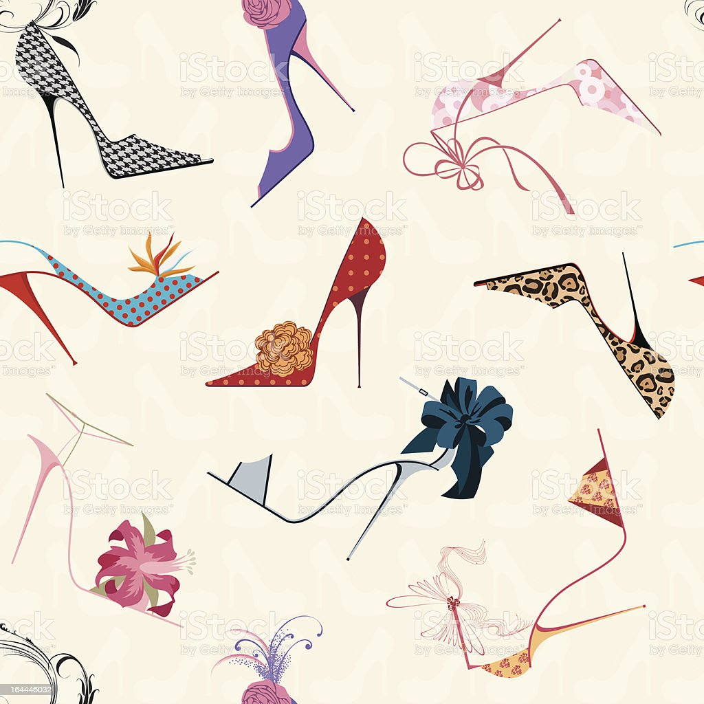 Square of a seamless pattern of drawn, vibrant high heels  vector art illustration