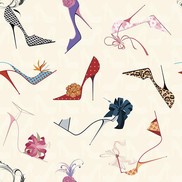 stockillustraties, clipart, cartoons en iconen met square of a seamless pattern of drawn, vibrant high heels  - hoge hakken