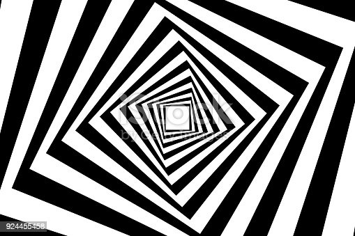 Rotating concentric squares, Square optical illusion pattern - black and white, Geometric abstract background