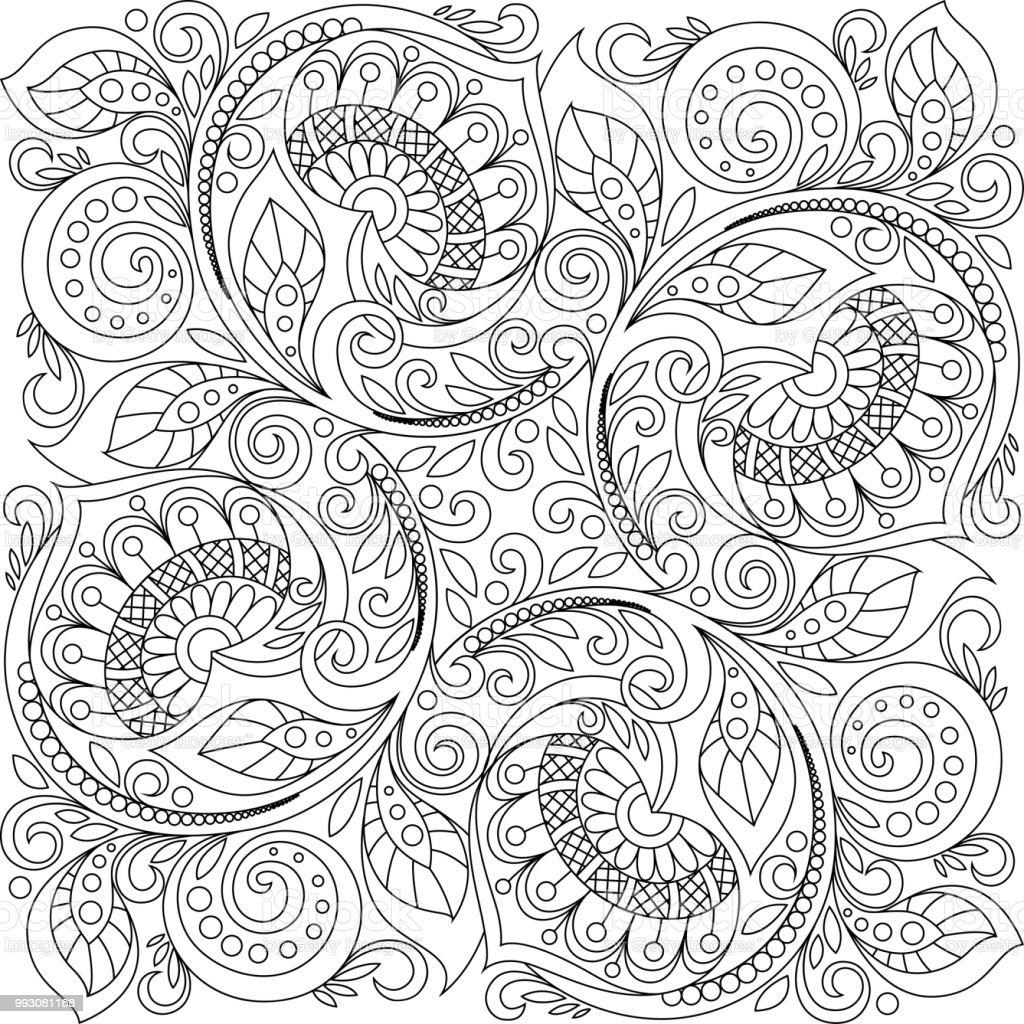 Kare Susleme Arka Plan Yurekleri Dekoratif Cicek Desenli Zentangle