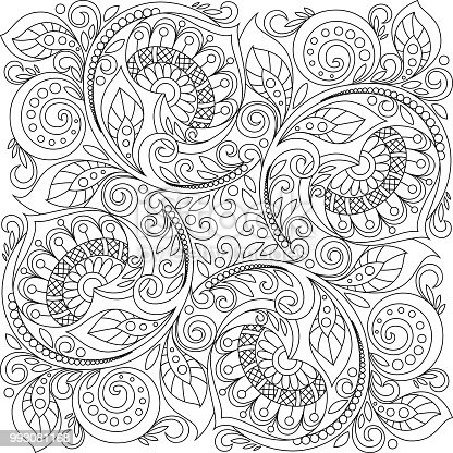 Square Ornament Background With Hearts Floral Decorative Pattern In Zentangle Style Adult Antistress Coloring Page Black And White Hand Drawn Doodle For