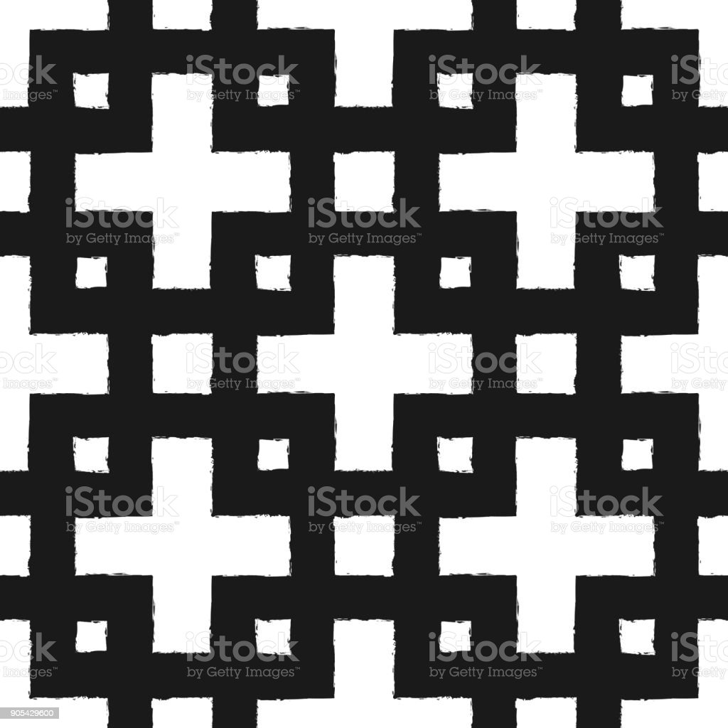 Square ornament painted with a brush. Seamless pattern. Grunge. vector art illustration