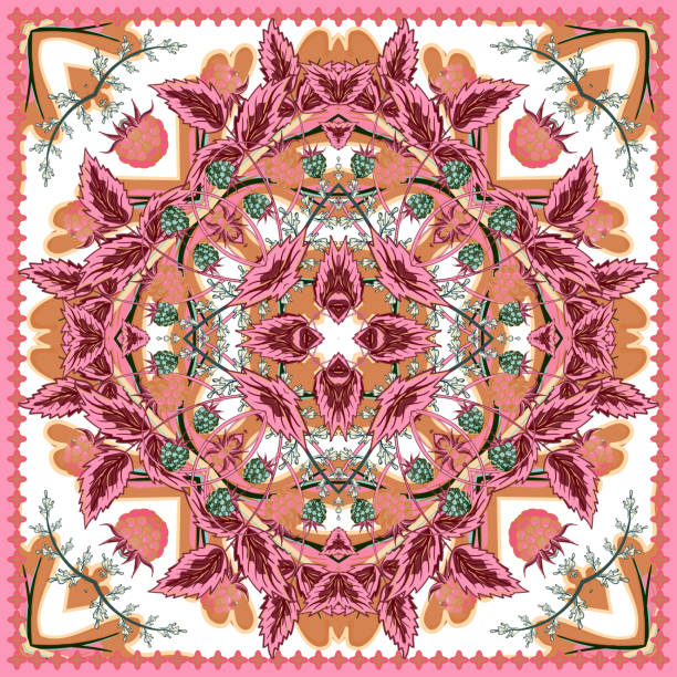 square ornamental pattern with strawberry and leaves. scarf background. vector - pashminas stock-grafiken, -clipart, -cartoons und -symbole