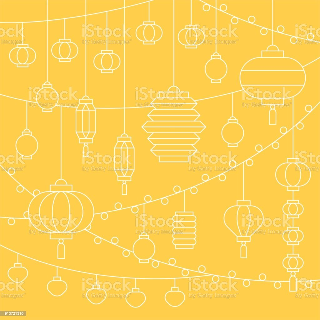 Square Outline Illustration Of Hanging Chinese Paper Lantern For Mid