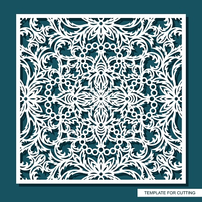 Square panel with delicate lace pattern. Floral oriental ornament of leaves, curls.