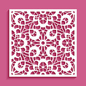 Square panel with lace pattern, decorative ornament for laser cutting or wood carving, cutout paper background for wedding invitation card