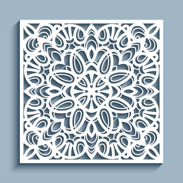 quadratische platte mit lochmuster - stanzen stock-grafiken, -clipart, -cartoons und -symbole