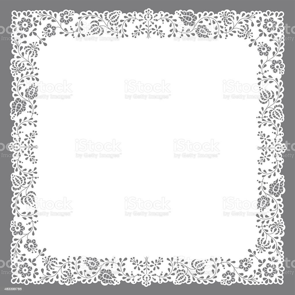 Square paper cut doily vector art illustration