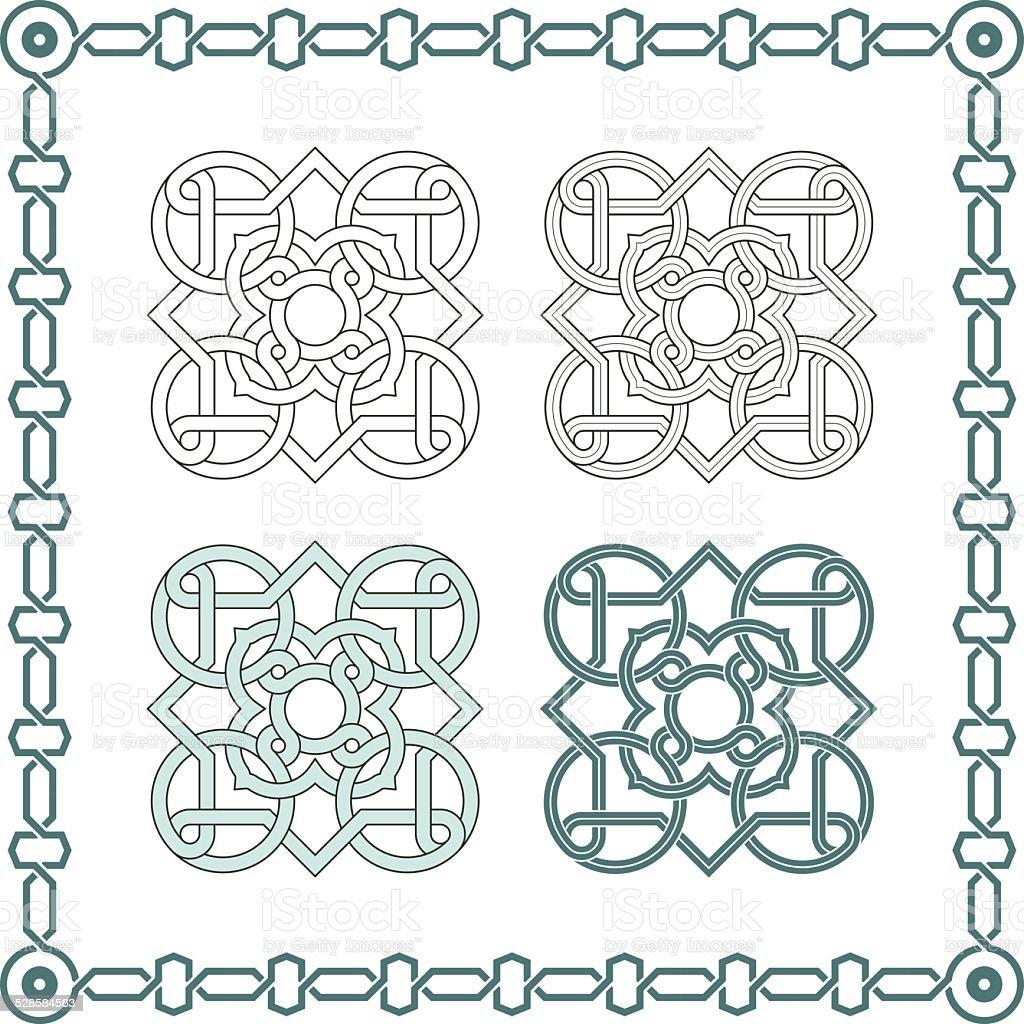Square patterns-Celtic knot style vector art illustration