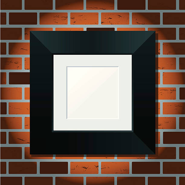 Square Picture Frame on Brick Wall vector art illustration