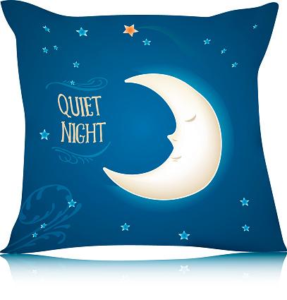 Square Pillow Design with Cartoon Sleeping Moon