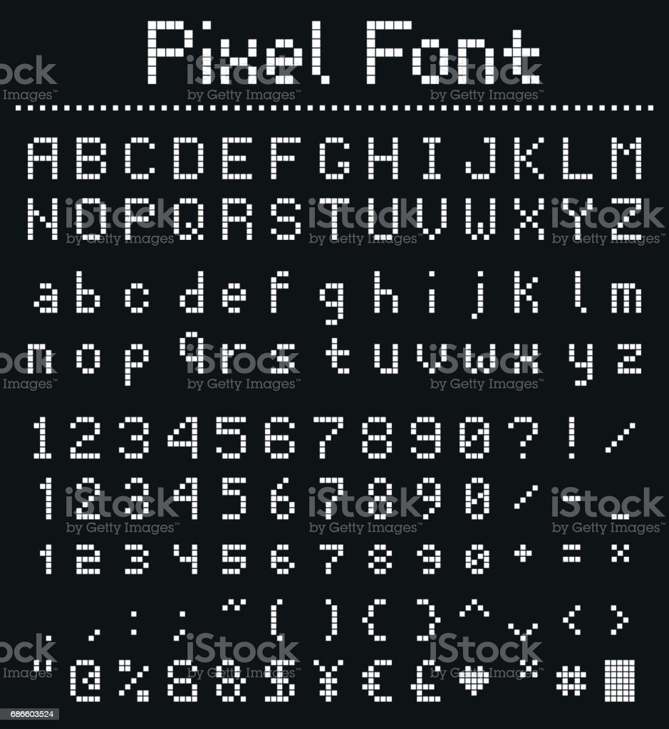 Square Pixel Font Videogame Alphabet In Retro Style Stock